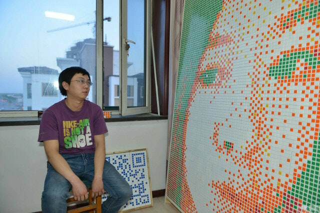 Boy Creates Giant Portrait of His Dream Girl From 840 Rubik's Cubes, Gets Rejected - World Of Buzz 3