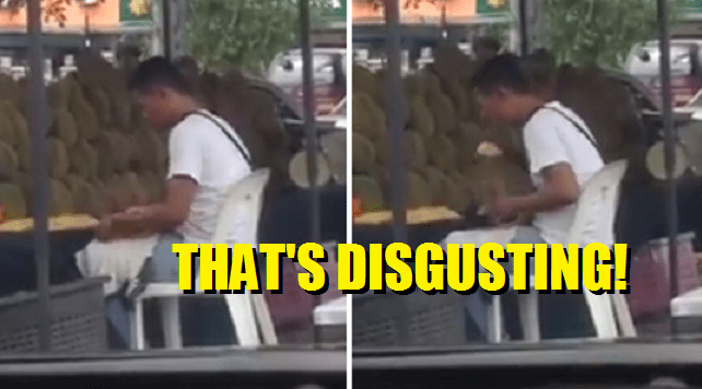 Durian Seller Caught On Video For Spitting Into Packet Before Selling To Customers - World Of Buzz