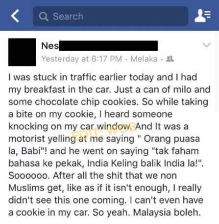 """Orang puasa la, B**i!"" as Indian Girl Got Scolded for Eating Breakfast in Car - World Of Buzz 2"