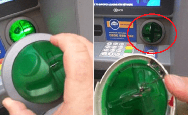 Security Expert spot and Rips Off cash machine skimmer on an ATM with bare hands - World Of Buzz 11
