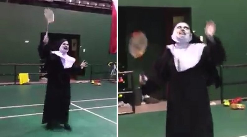 Video Captures Valak Playing Badminton in Malaysia - World Of Buzz