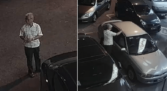 CCTV Footage Catches Elderly Uncle Robbing Car In Kuchai Lama, Makes Off With Laptop Bag Amidst Pedestrians - World Of Buzz