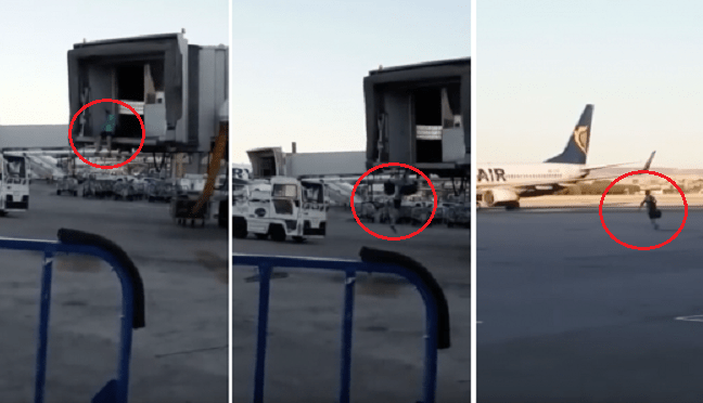 Guy Determined Not To Miss Flight Parkours Over Departure Gate And Runs Across Airport Tarmac - World Of Buzz 3