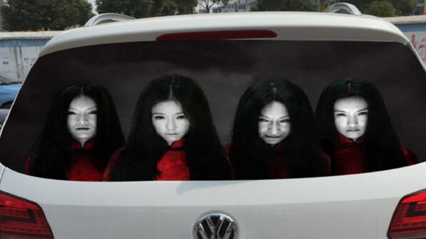 China Drivers Use Creepy Ghost Stickers To Scare Off High Beam Abusers - World Of Buzz
