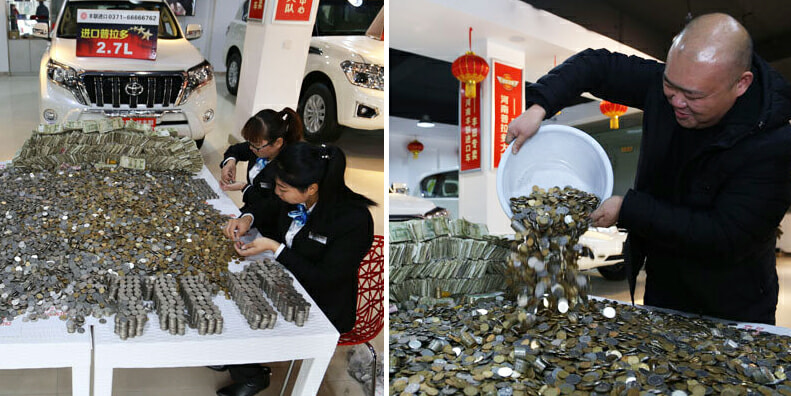Chinese Man bought a car with huge piles of changes! - World Of Buzz 6