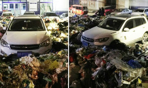 Chinese Man Illegally Parks Car, Comes Back To Find It Buried In 10,000kg Of Rubbish - World Of Buzz