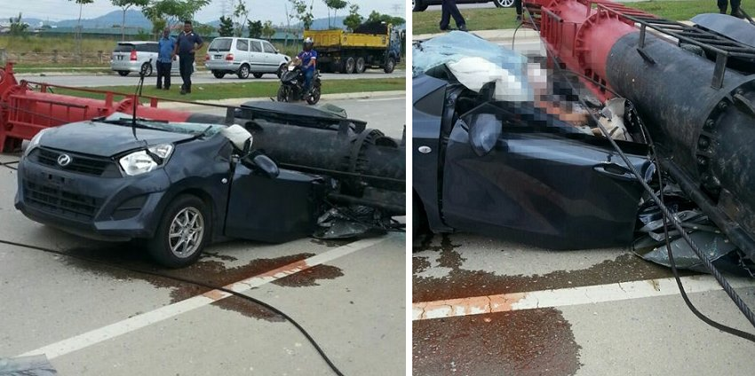 Malaysian Man And Woman Die After Construction Pile Driver Crushed Their Car - World Of Buzz 7