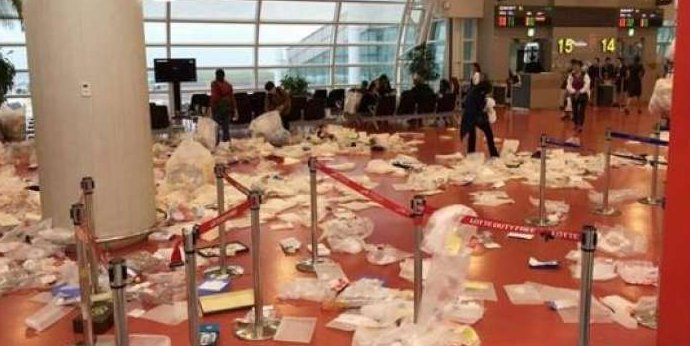 Overflowing Rubbish By Chinese Tourists Leaves Korean Airport Looking Like Rubbish Dump - World Of Buzz