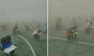 Crazy Principal In China Forces Students To Take Exam Outdoors In The Haze - World Of Buzz