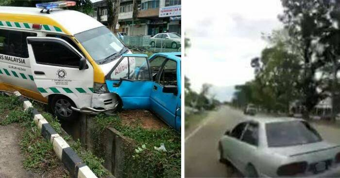 Ambulance Carrying 2 Injured Met With Accident After Proton Wira Recklessly Switch Lane - World Of Buzz 1