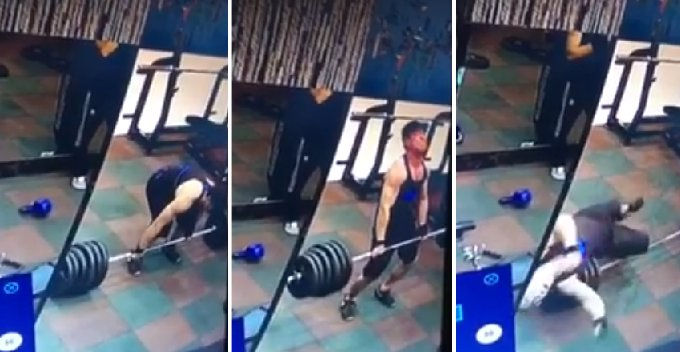Buff Guy Collapses On The Floor After Lifting Too Heavy In The Gym - World Of Buzz 5