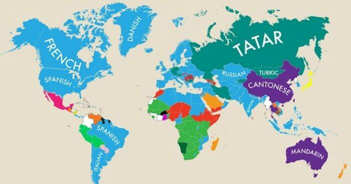 Amazing Map Of 2nd Languages Being Spoken Around The World - World Of Buzz