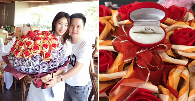 Malaysian Boyfriend Proposes With Money Flower Worth RM13,000 On Valentine's Day - World Of Buzz