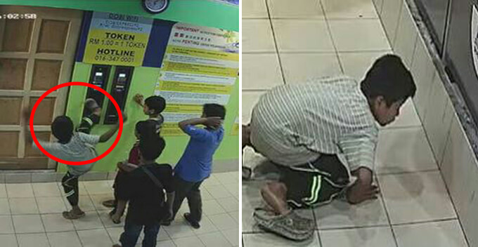 Malaysian Children Kicked Token Machine To Steal Coins, Caught In Action By CCTV - World Of Buzz