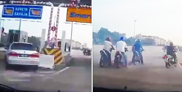 Malaysian Lady Driver's Dash-Cam Caught Mat Rempit Blocking Toll Booth To Use As Starting Line - World Of Buzz 1