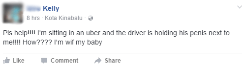 Malaysian Lady Frantically Asks For Help Through Facebook After Uber Driver Whips Out Penis - World Of Buzz 1