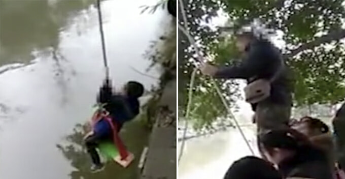 Merciless Chinese Father Hangs 7-Year-Old Son Above River And Tests Son's Arithmetic Skills - World Of Buzz