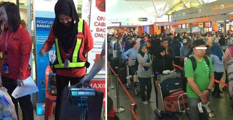 Air Asia Strictly Enforcing Cabin Luggage Rule, Weighing Bag By Bag - World Of Buzz 2