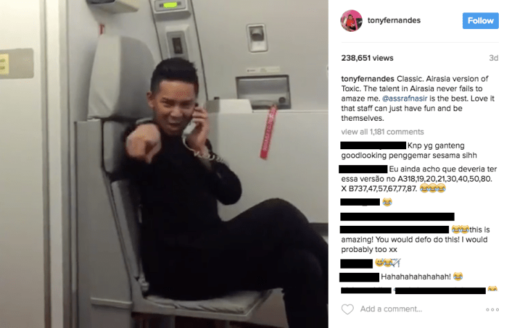 "AirAsia Steward Dances To Britney Spears' ""Toxic"", Catches Tony Fernandes' Attention - World Of Buzz 1"