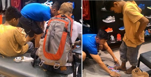 Foreigner Guy Bringing Barefooted Child for Shoes Shopping Melts Netizens' Heart - World Of Buzz 1
