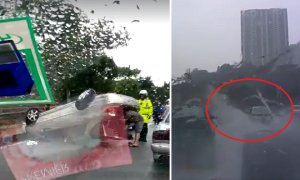 Malaysian Driver Unfortunately Drove Over Water And End Up In Terrible Crash - World Of Buzz