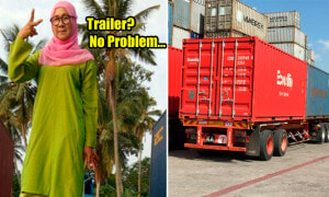 Malaysian Single Mother Breaks Stereotype And Drives Trailer for RM7,000 Salary - World Of Buzz 1