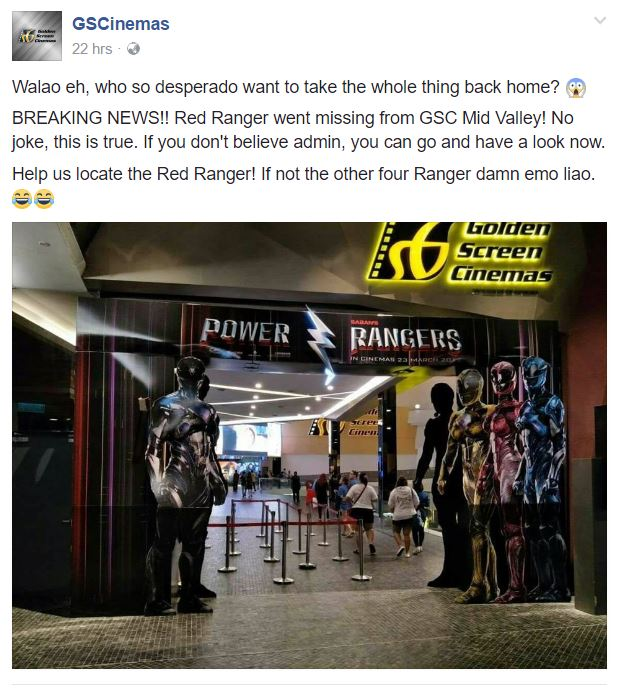 Red Power Ranger Goes Missing in GSC Mid Valley, Netizens on the Hunt for Him - World Of Buzz 1