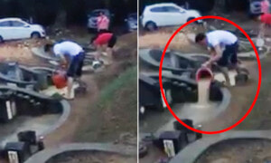 Malaysian Man Caught Dumping Flood Water to the Next Grave During Qing Ming - World Of Buzz 2