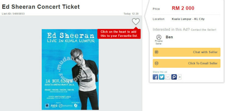Ed Sheeran's KL Concert Tickets Sold Out, People Are Reselling It At Ridiculous Prices - World Of Buzz 3