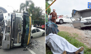 Malaysian Woman Dies On The Spot After Lorry Flips and Crushes On Her Viva - World Of Buzz
