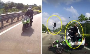 Rider FLUNG Over Stalled Car After Speeding Motorbike Crashed into it - World Of Buzz