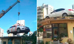 Stubborn Woman's Car Blocking the Entrance, Crane Hired to Lift and Leave it On Roof - World Of Buzz