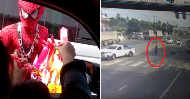"""""""spider-Man"""" Seen Rushing To Help Motorcyclist Injured In Accident - World Of Buzz 6"""