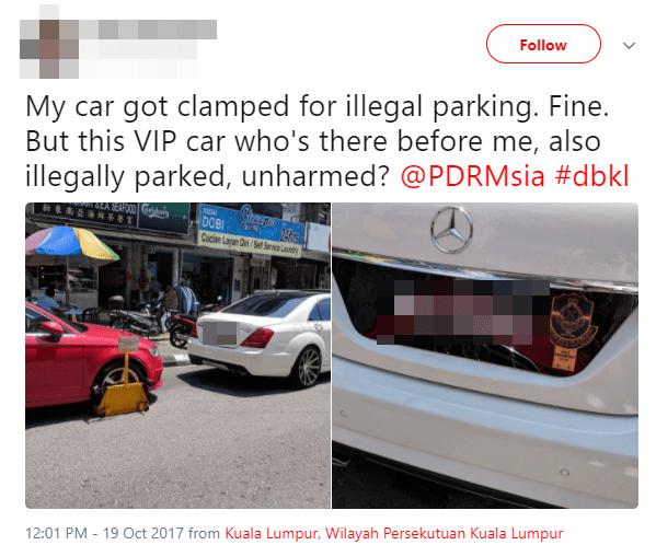 Malaysian VIP and Civilian Park Illegally, Only Civilian's Car Gets Clamped - WORLD OF BUZZ 2