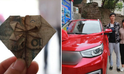 Man Folded Heart-Shaped Banknotes For 6 Years And Used Them to Buy His Wife a Car - WORLD OF BUZZ