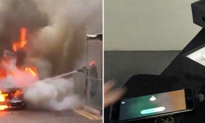 Mercedes Burst in Flame and Gets Destroyed, But Not the iPhone8 Plus Onboard - WORLD OF BUZZ