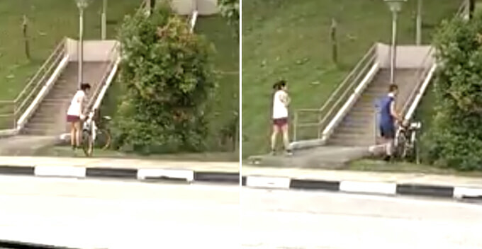 Uncivilised Couple Caught on Camera For Dumping Two oBikes in Drain For No Reason - WORLD OF BUZZ