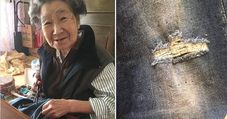 Cute Grandmother Think Granddaughter's Ripped Jeans are Damaged, Lovingly Patches Them - WORLD OF BUZZ 1