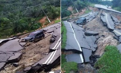 Road Closed After Car Plunges Down 15M Deep Collapsed Road in Johor - WORLD OF BUZZ 5