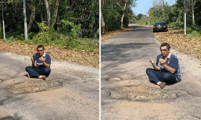 Local Council Finally Fixes Potholes on Road After Photos of MP Praying Go Viral - WORLD OF BUZZ 4