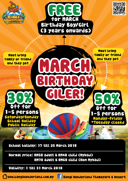 Free Entry for March Babies at Bangi Wonderland! - WORLD OF BUZZ