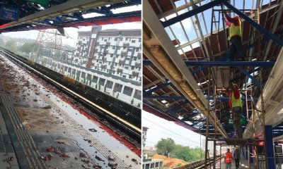 Kelana Jaya LRT Station Still Closed After Roof Flies Off, Repair Works Ongoing - WORLD OF BUZZ 7