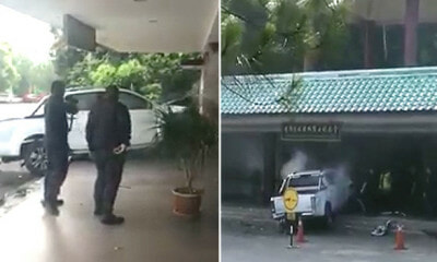 Man Shockingly Rams His White Pickup Truck into Lim Goh Tong Memorial Hall in Viral Video - WORLD OF BUZZ