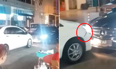 Mercedes Going Wrong Way Refuses to Reverse and Hits Bezza's Bumper in PJ - WORLD OF BUZZ