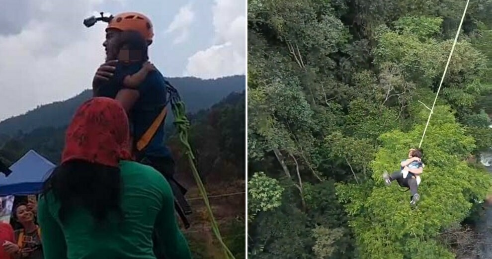 "M'sian Receives Backlash For ""Rope Swinging"" off a 60m Bridge With His Toddler - WORLD OF BUZZ 5"