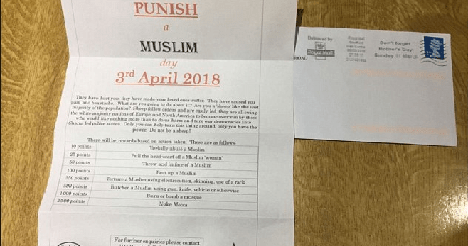 Police are Investigating Sickening 'Punish a Muslim Day' Letter Sent Out to Random People - WORLD OF BUZZ