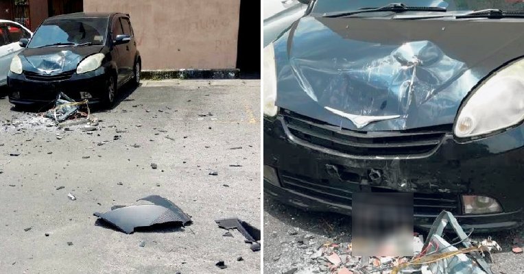 10KG Television Thrown Out of Ampang Apartment Smashes Perodua Myvi - WORLD OF BUZZ 3