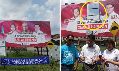 Battle of Billboards Begin: Mahathir's Face Swiftly Cut Out from PH Poster - WORLD OF BUZZ 3