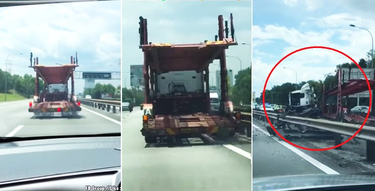 Video Of Trailer Ramming Divider At Elite Expressway Goes Viral - World Of Buzz
