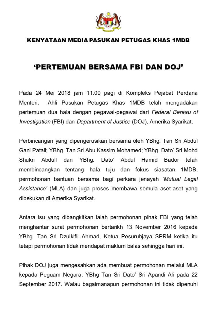 1MDB Special Task Force Meets with DoJ and FBI, Agrees to Cooperate Fully - WORLD OF BUZZ 1